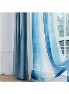 Mediterranean Style Romantic Blue Stripes Window Treatment Custom Sheer Curtain