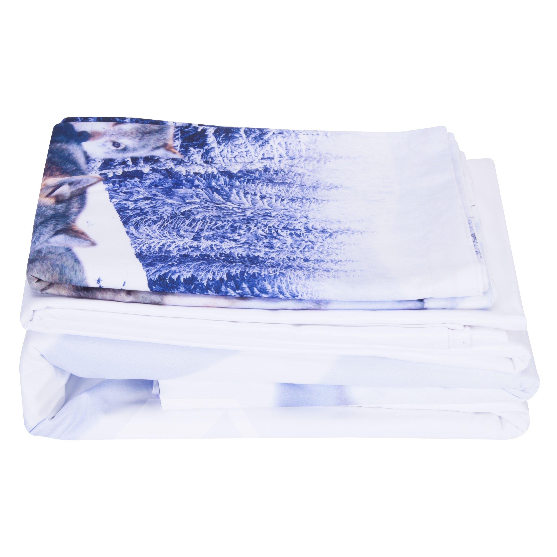 Snow Wolf Printed Cotton 4-Piece 3D Bedding Sets/Duvet Covers