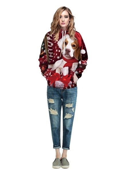 Unique Long Sleeve Lovely Dog Pattern Front Pocket 3D Painted Hoodie