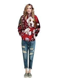 Christmas Style Long Sleeve Lovely Dog Pattern 3D Painted Hoodie