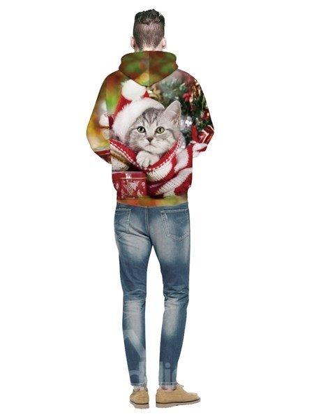 Long Sleeve Christmas Cute Cat Pattern 3D Painted Hoodie