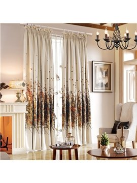 Contemporary Thicken Floral Jacquard Cotton & Linen Blending Custom Curtain