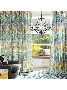 Contemporary Rustic Floral Printing Cotton & Linen Blending Custom Curtain