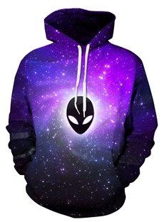 Long Sleeve ET Pattern Purple Galaxy Background 3D Painted Hoodie