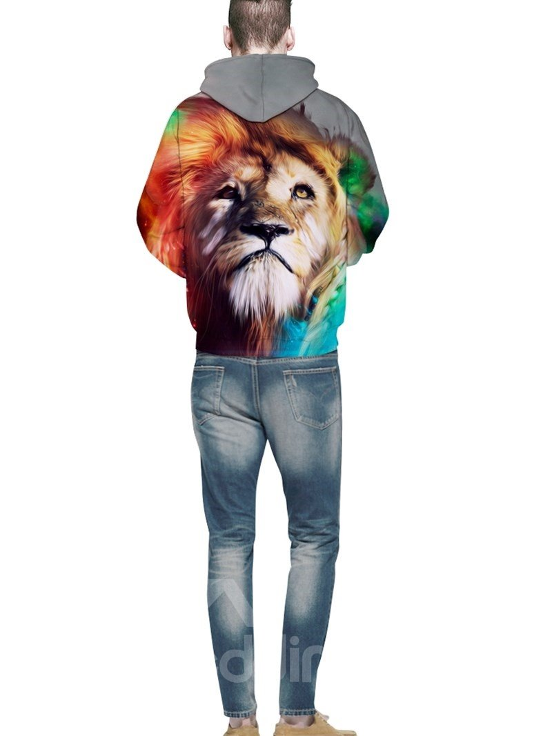 Cool Long Sleeve Lion King Pattern 3D Painted Hoodie