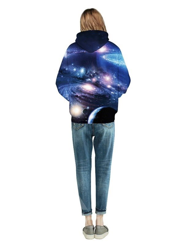 Long Sleeve Mysterious Galaxy Pattern Front Pocket 3D Painted Hoodie