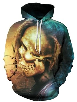 Special Long Sleeve Skull Pattern 3D Painted Hoodie