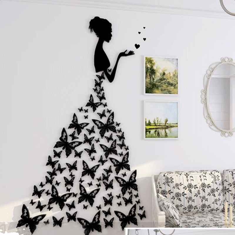 black/red girls and butterflies acrylic 3d waterproof wall stickers