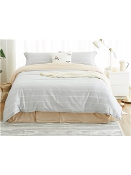 Light Gray Stripe Print 100% Cotton 4-Piece Duvet Cover Sets