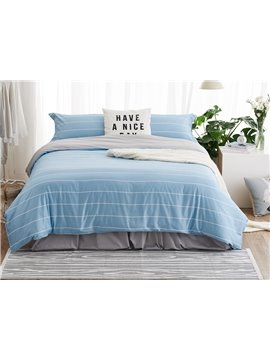 Super Soft Sky Blue Stripe Print 4-Piece Duvet Cover Sets