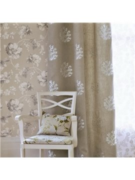 Concise Embroidery Coral Custom Polyester and Linen Blending Grommet Top Curtain
