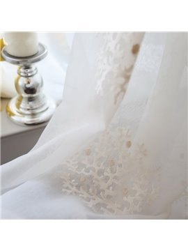 Romantic Embroidery Coral Custom Sheer Curtain