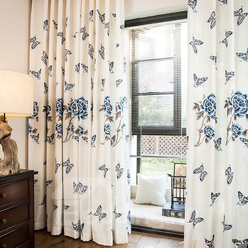Blue Embroidery Butterfly and Peony Cotton Linen Blending Custom Curtain