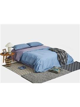 Modern Solid Blue 4-Piece Cotton Duvet Cover Sets