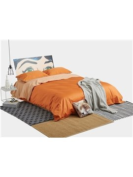 Luxurious Orange 4-Piece Cotton Duvet Cover Sets