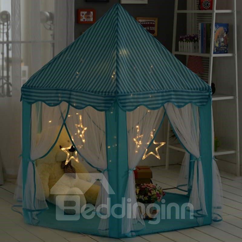 Sky Blue Stripe Pattern Hex-angular Kids Indoor Tent