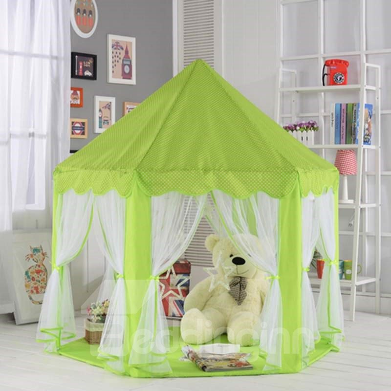 Lovely Mint Polka Dots Hex-angular Kids Indoor Tent