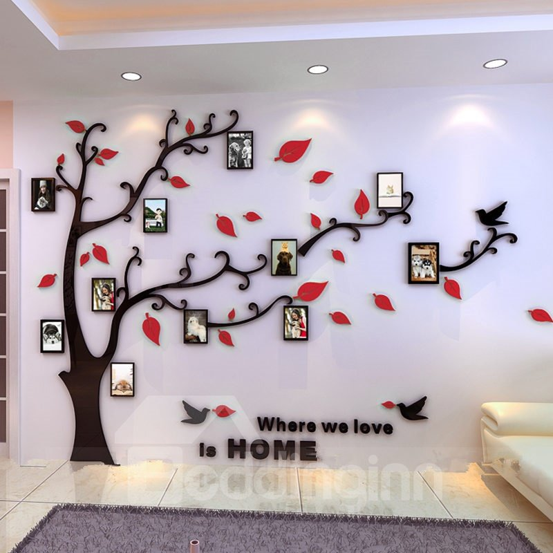 Photo Frame Tree Country Style Acrylic 3D Waterproof 11 Photo Frames ...