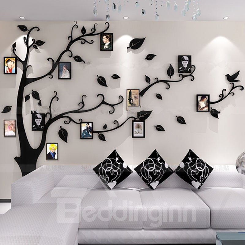 photo frame tree country style acrylic 3d waterproof 11 photo frames wall stickers. Black Bedroom Furniture Sets. Home Design Ideas