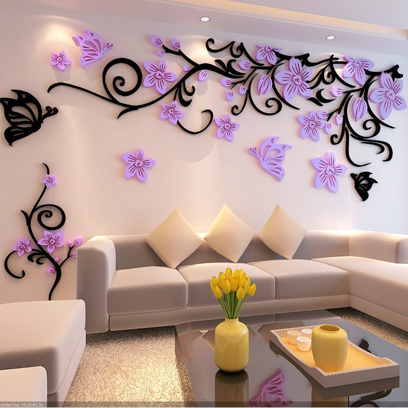 Flower And Butterfly Pattern Acrylic 3d Tvsofa Background Wall