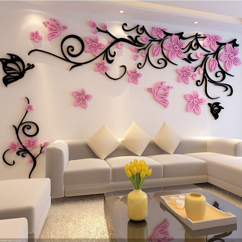 Acrylic Flower and Butterfly Pattern 3D TV/Sofa Background Wall Stickers