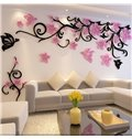 Flower and Butterfly Pattern Acrylic 3D TV/Sofa Background Wall Stickers