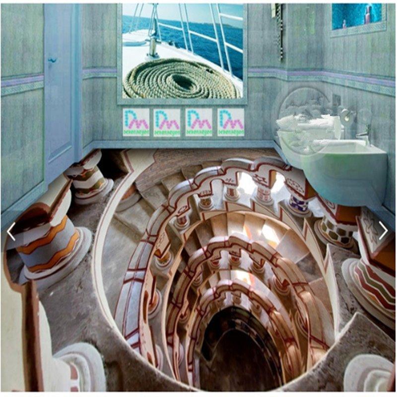 Modern Creative Design Spiral Stair Pattern 3D Waterproof Floor Murals