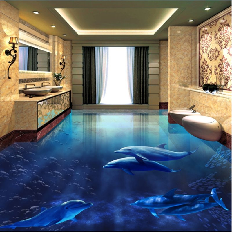 D Blue Sea And Dolphins Printed Waterproof Sturdy Nonslip Eco - 3d vinyl flooring for sale