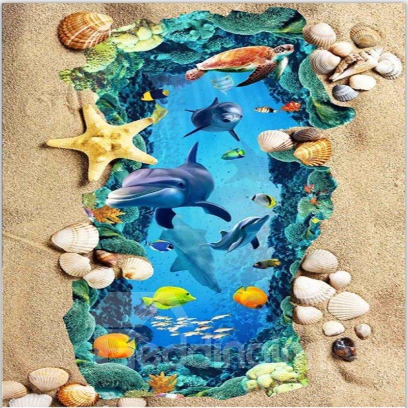 Wonderful Dolphin in the Sea and Beach Scenery Wallpaper Waterproof 3D Floor Murals