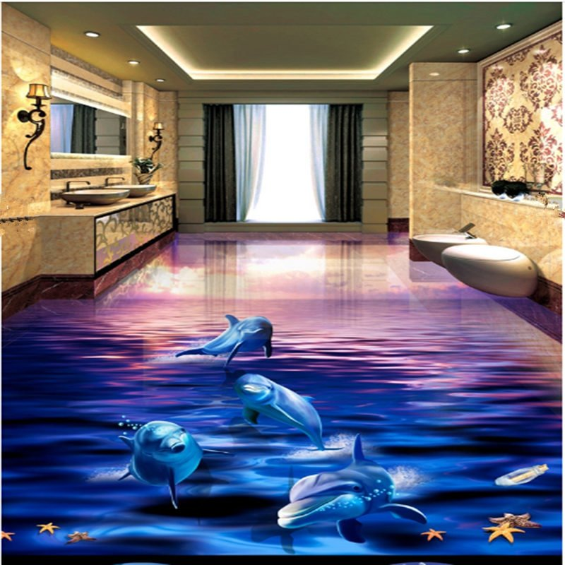 Gorgeous sunset dolphin in the sea scenery waterproof for Mylar flooring