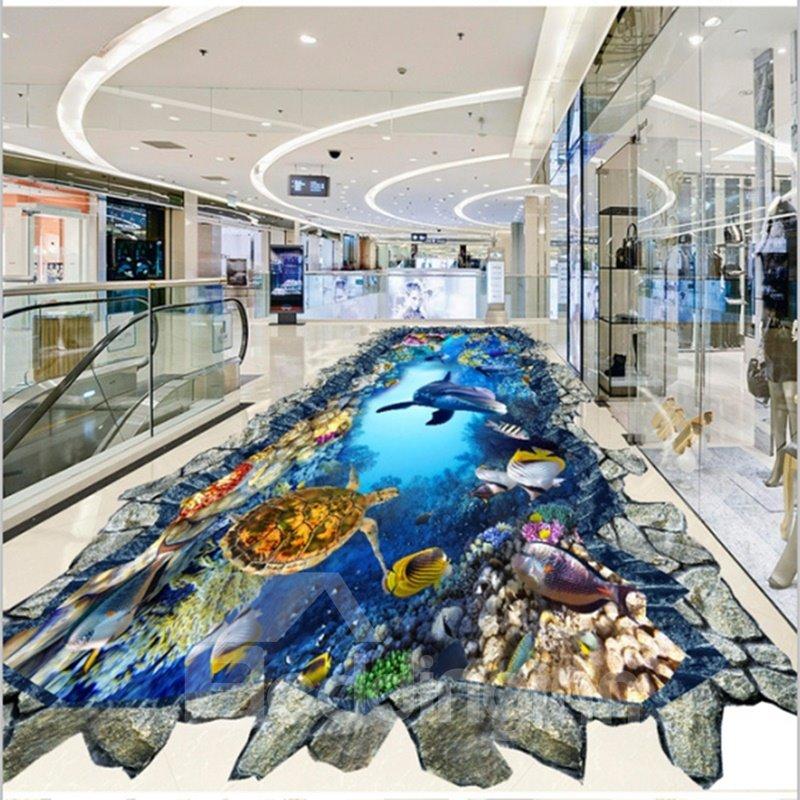 Amusing Dolphins and Turtles in Broken Hole Home Decorative Waterproof 3D Floor Murals
