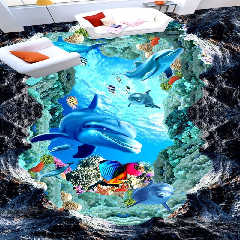 Special Design Dolphins and Fishes in a Broken Hole Wallpaper Splicing Waterproof 3D Floor Murals