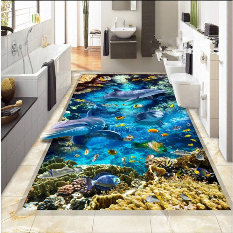 Rectangle Fancy Dolphins and Fishes Pattern Antiskid and Waterproof 3D Floor Murals