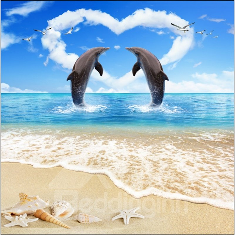 Romantic Two Dancing Dolphins In Heart Shape Cloud By The