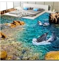 Amazing Decorative Two Cute Dolphins in the Sea Custom Size Waterproof 3D Floor Murals