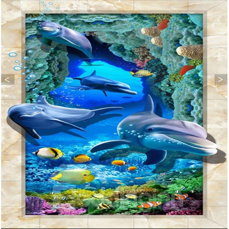 Unique Design Vivid Dolphin And Fish Sea Scenery