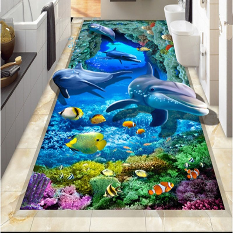 Unique Design Vivid Dolphin And Fish Sea Scenery