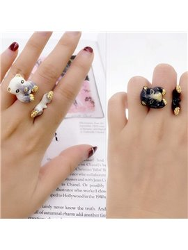 Cute Cartoon Bear Design Two Colors for Choose Enamel Ring