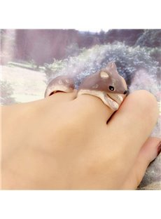 Vivid Cartoon Squirrel Design 2 Pieces Enamel Rings Group