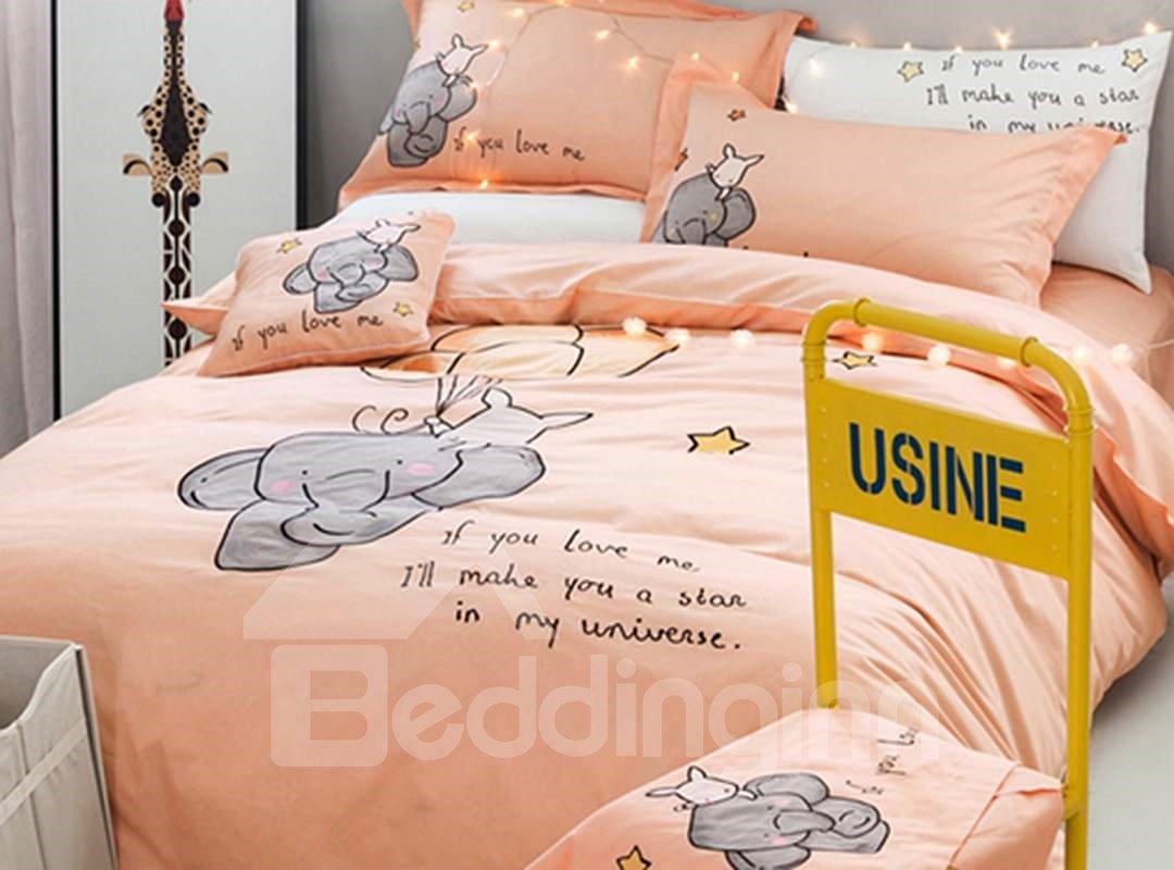 Cute Cartoon Elephant Pattern Kids Cotton 4-Piece Duvet Cover Set