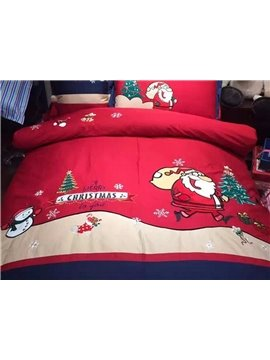 Christmas Style Santa Claus Pattern 4-Piece Duvet Cover Sets