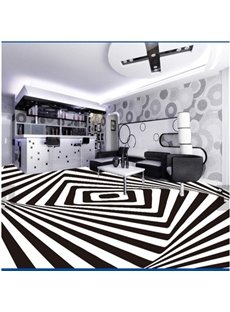 White and Black Three-dimensional Geometric pattern Decorative Waterproof 3D Floor Murals