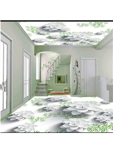Elegant White Flowers and Green Plants Pattern Antiskid and Waterproof 3D Floor Murals