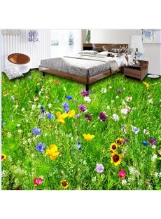Spectacular Beautiful Grass land and Flower Pattern Splicing Waterproof 3D Floor Murals