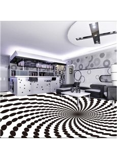 Vivid White and Black Spiral Design Antiskid and Waterproof 3D Floor Murals