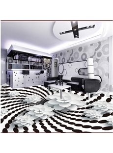 Creative White and Black Spiral Pattern with Flower Decoration Waterproof 3D Floor Murals