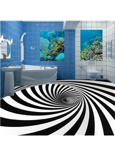 White and Black Strips Vortex Design Waterproof Splicing 3D Floor Murals