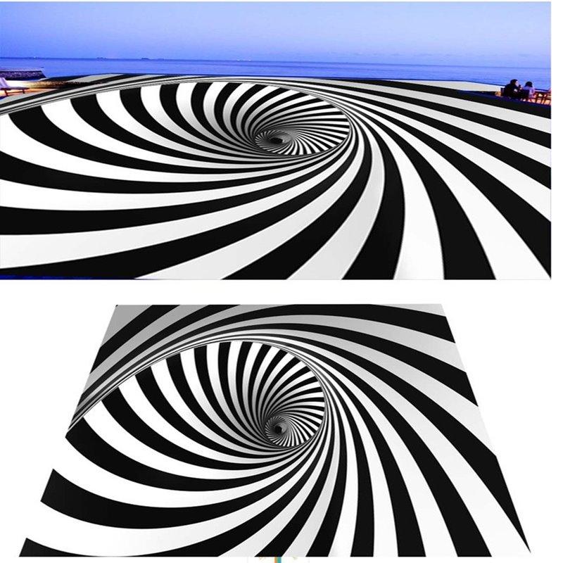White and Black Strips Vortex Design Waterproof Splicing 3D Floor Murals