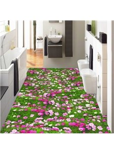Gorgeous Flowers Field Design Home Decorative Splicing Waterproof 3D Floor Murals