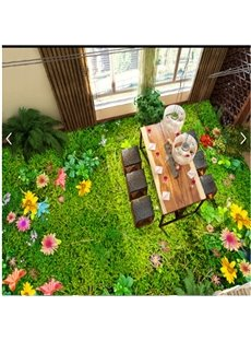 Splendid Grass and Flower Garden Scenery Healthy Waterproof Decorative 3D Floor Murals